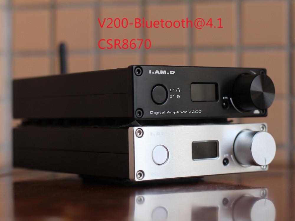 2018 Je. SUIS. D V200BT Bluetooth@5.0 CSR8675 Soutien APTX HD Plein Numérique Amplificateur 150 w * 2 USB XMOS U208 24Bit/192 khz Télécommande