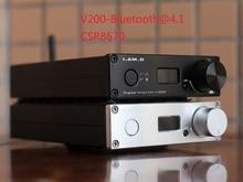 Je. SUIS. D V200BT Bluetooth@5.0 CSR8670 Plein Numérique Amplificateur 150 W * 2 XMOS USB 24Bit/192 KHz Entrée USB/Optique/Coaxial/AUX/BT OLED