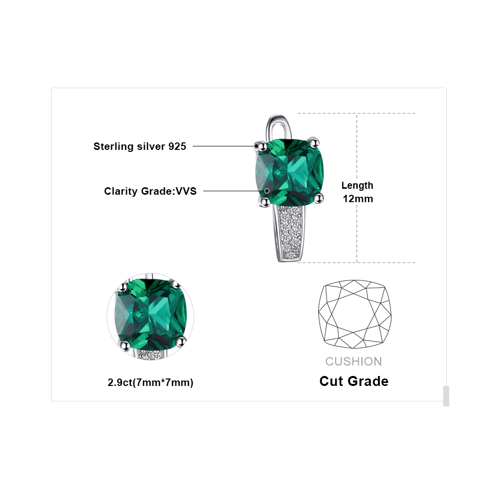 JewelryPalace Cushion 3.1ct Created Green Emerald Clip On Earrings 925 Sterling Silver Fine Jewelry for Women Accessories 4