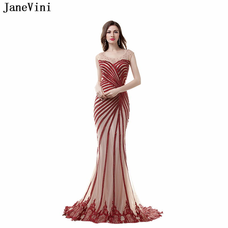 JaneVini Sexy Mermaid Long Prom   Dresses   Scoop Neck Lace Appliques Beaded Backless Sweep Train Tulle   Bridesmaid     Dresses   Plus Size