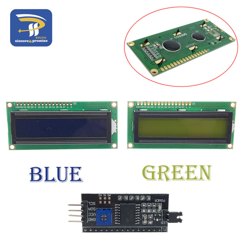 US $0 62 8% OFF|LCD1602 PCF8574T PCF8574 IIC/I2C / Interface 16x2 Character  LCD Display Module 1602 5V Blue/ Yellow Green Screen For Arduino DIY-in