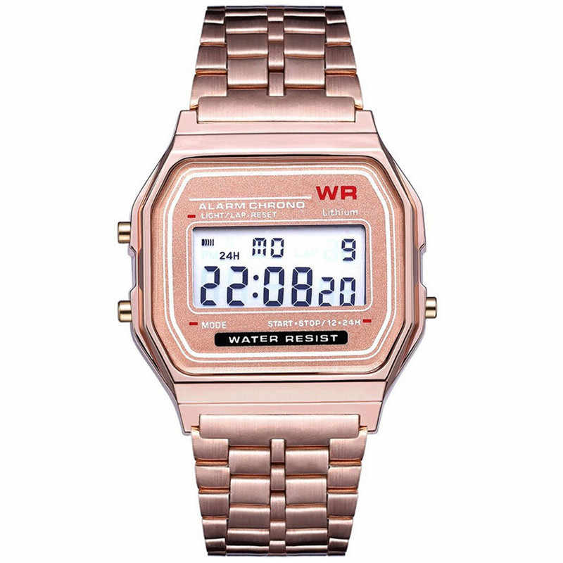 Vintage Digital Wristwatches LED Digital Waterproof Quartz Wrist Watch Dress Golden Wrist Watch Women Men Dropshipping 2019