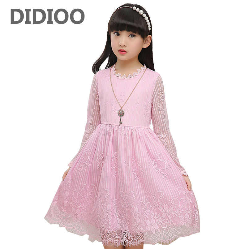 Lace Dresses For Children Princess Party Dresses Long Sleeve Flower Girls Wedding Dress Elegant Evening Gowns 2 6 8 10 12 Years girls princess party dresses 4 long sleeve striped kids dresses for girls 6 preppy style bottoming dress 8 ball gowns 10 12years