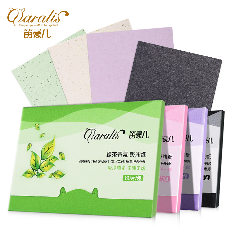 1Pack=80pcs ProtableFacial Absorbent Paper Oil Control Wipes Green Tea Absorbing Sheet Matcha Oily Face Blotting Matting Tissue