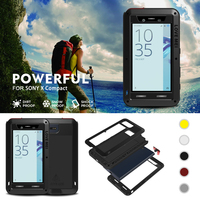LOVE MEI Outdoor Shockproof Dustproof Waterproof Tempered Glass Aluminum Metal Case Cover For SONY Xperia X