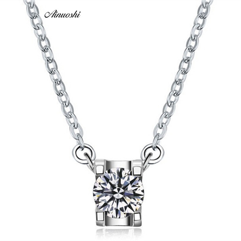 AINUOSHI Luxury 1 Carat Brilliant Round Cut Pendant Necklace Trendy 925 Sterling Silver Hot Women Bridal Wedding Charm Jewelry