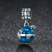 BISAER Pendant Charms 925 Sterling Silver Blue Earth Enamel Beads Charm for Original Charms Bracelet Women Wedding Jewelry