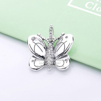 2019 NEW Spring S925 Sterling Silver Butterfly Zircon Pendant Charms Beads Fit European DIY Jewelry Bracelets & Necklaces