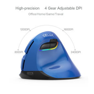 Image 5 - Delux M618 Mini Wireless Bluetooth Gaming Mouse Vertical Ergonomic Rechargeable Computer Gamer Mause RGB Backlit Mice For Laptop