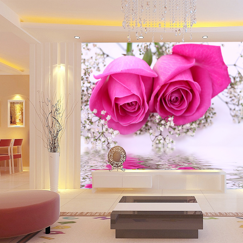 Online get cheap wall paper roses for 3d rose wallpaper for bedroom
