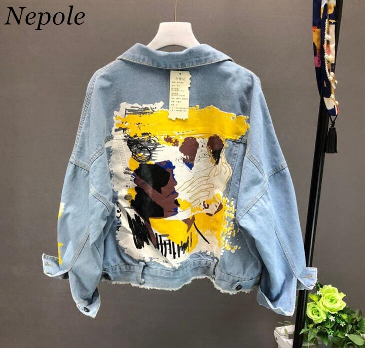 Neploe Hand-painted Pattern Chic Coat Letters Print Cool Girl Denim Jacket 2019 Spring Autumn Fashion Pockets BF Outwear 69604(China)