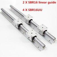 2pcs SBR16 16mm linear rail any length support round guide rail + 4pcs SBR16UU slide block for cnc Linear Guides     -