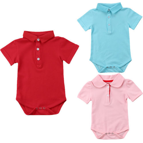 52d018d30 New Lovely Baby Boys Girls Newborn Bodysuit solid color Button ...
