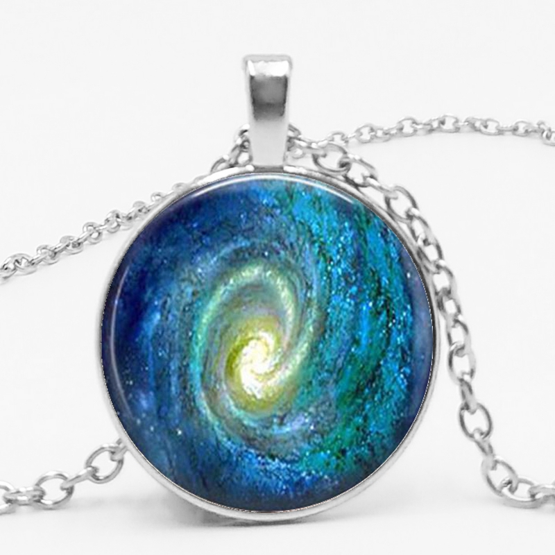 Space Swirl Necklace Fashion Boutique Glass Art Jewelry Picture Pendant Photo Pendant Handcrafted Jewelry in Pendant Necklaces from Jewelry Accessories