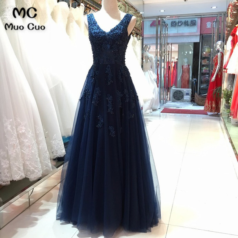 Elegant 2018 Navy Blue Beaded   Evening     Dresses   V-Neck Tulle Floor Length Appliques Formal   Evening   Party   Dress   Custom Made