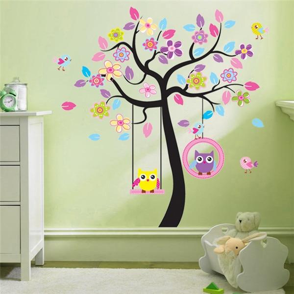 oscilacin del rbol del bho decoracin pintura arreglo de casa los nios de etiqueta de