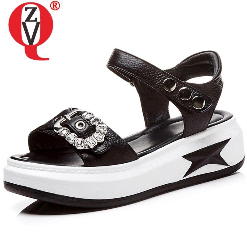 ZVQ Brand non slip leather Women s sandals Summer beach 4 5cm med hells Wedges Mixed