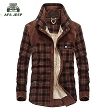 2018 Fashion Shirt Men Winter Cotton shirts Mens thickening plus Size 3XL velvet long-sleeved plaid shirt with velvet 130