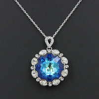 4 Colors New Shaped Round Austrian Crystal Ocean Blue Big Pendant Necklace For Women Rhodium Plated