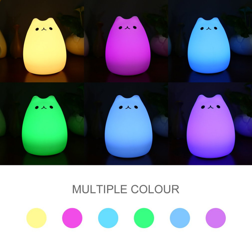 Rechargeable Silicone Animal Light Lovely Cat Shape Touch Sensor Light Bedroom Light with 2 Modes USB Cable 7 Colors Changing