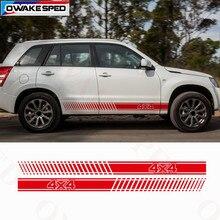 Autocollants à rayures tout-terrain pour Suzuki Grand Vitara AT MT 4X4, décoration de côté de porte de voiture, adaptés à 3-5 portes, autocollants de Sport
