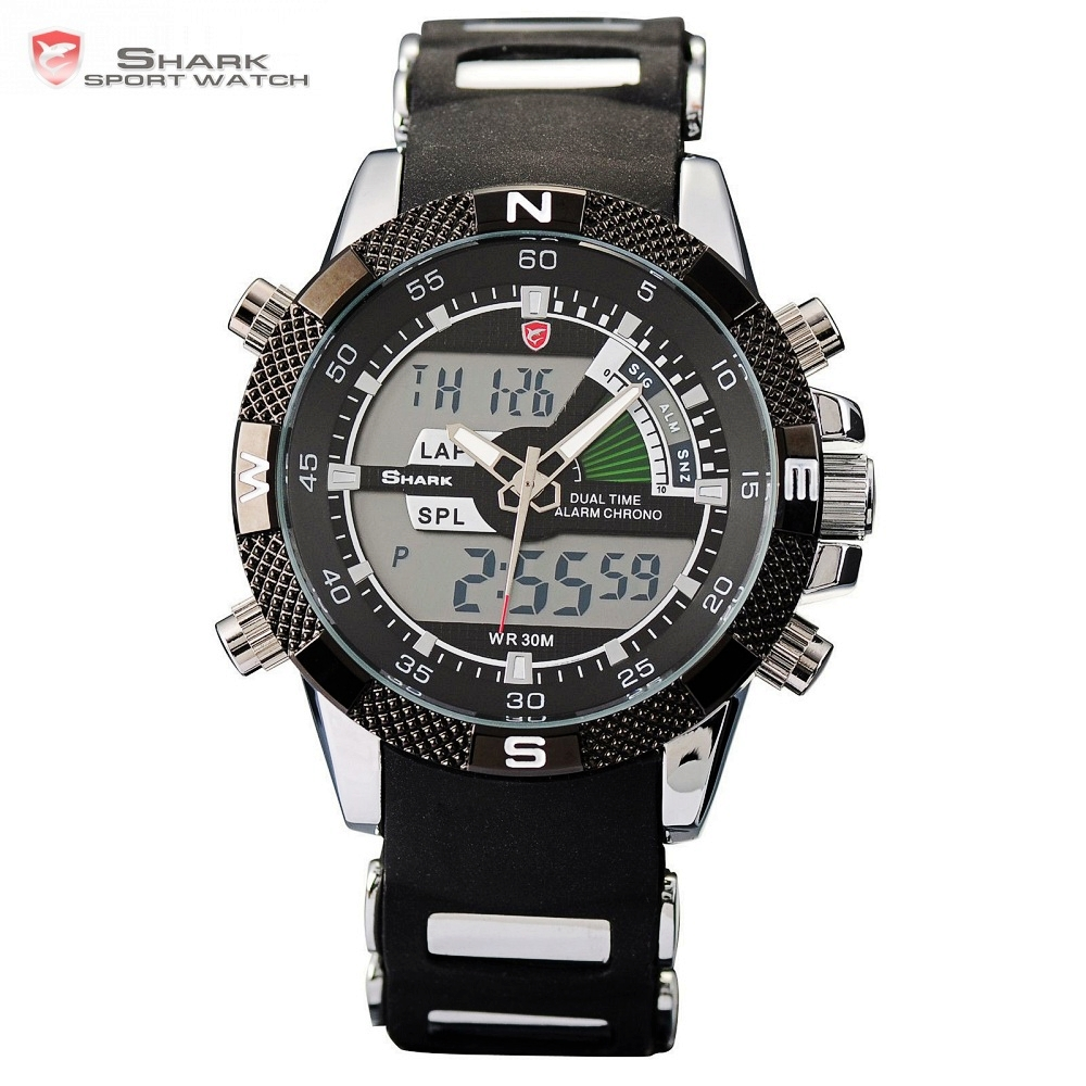 Porbeagle SHARK Sport Watch Black Military Rubber Band Outdoor Hiking Digital LED Electronic Watches Chronograph Men Clock/SH042 шейкер sport elite sh 300 850ml black