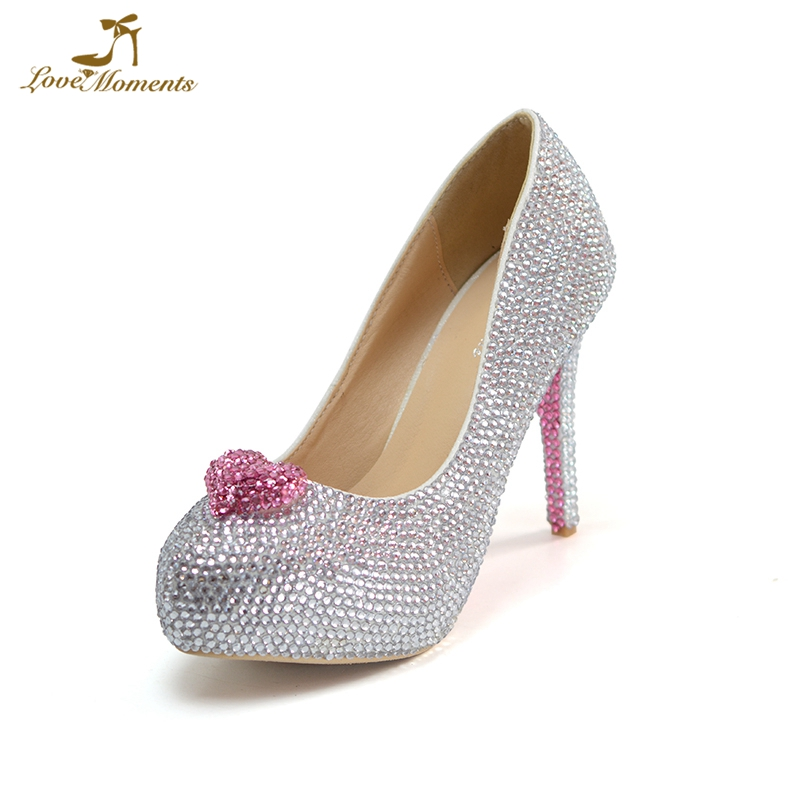 Drop-shipping Silver Rhinestone Wedding Shoes Customized Pink Adult Ceremony High Heels Cinderella Prom Party Shoes Court Pumps free shipping sparkly silver crystal and rhinestone high heels with spikes ultra high heels shoes for wedding party prom
