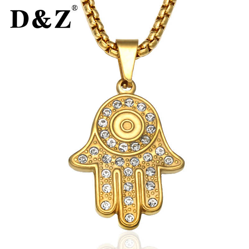 D&Z Religious Gold Hand of Fatima Hamsa Pendant Chain Stainless Steel Crystal Evil Eye Hand Necklaces for Women Jewelry Clavicle