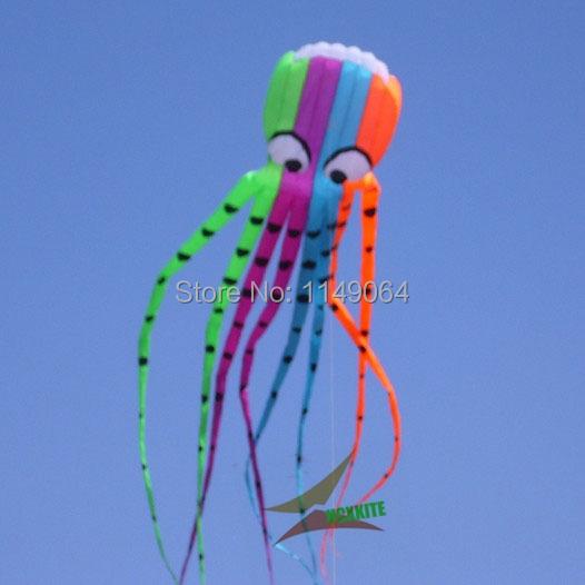 O envio gratuito de alta qualidade 8 m pipas octoppus com alça de pipa linha de pipa voando brinquedos macio ripstop pipa weifang hcxkite parafoil