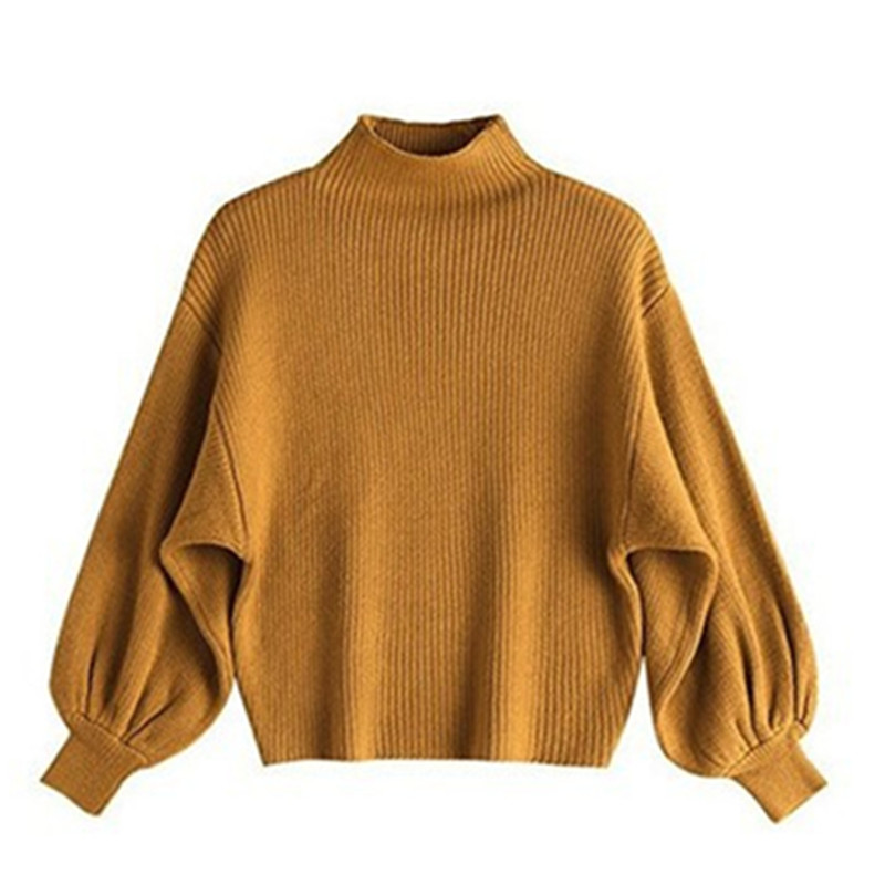 Autumn Winter Korean Women's Half High Collar Bottoming Sweater Loose Lanterns Sleeves Bat Sweater Women New Year Casual Sweater