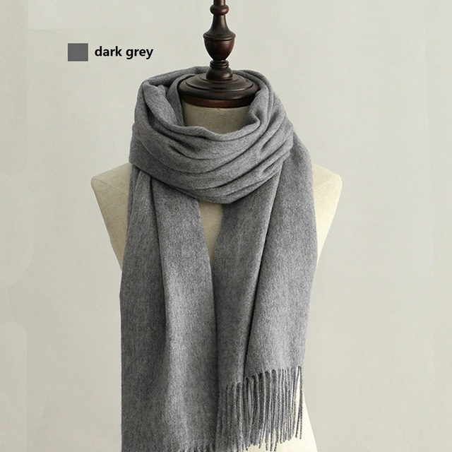 4690605e299 US $28.99 | 100% Wool Scarf Solid Unisex scarves for women Wraps Grey/black  with Tassels Classic design winter blanket scarf-in Women's Scarves from ...