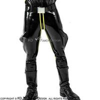 Черные с желтой полосой спереди сексуальные латексные Панталоны резиновые штаны джинсы брюки Леггинсы Низ CK 0029