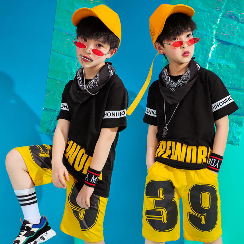 Hiphop Costume For Boys Summer Clothes Black T-Shirt 2pcs Suit 2019 Children Street Dance Hiphop Dance Costume Stage Wear VDB107