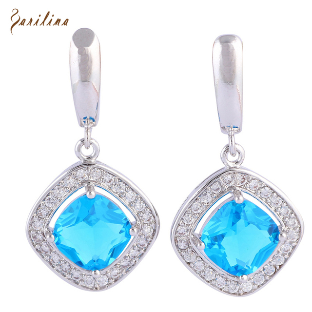 Ravishing 925 Sterling Silver Overlay Jewelry Light Blue Cubic Zirconia Earrings Fashion For Women E406