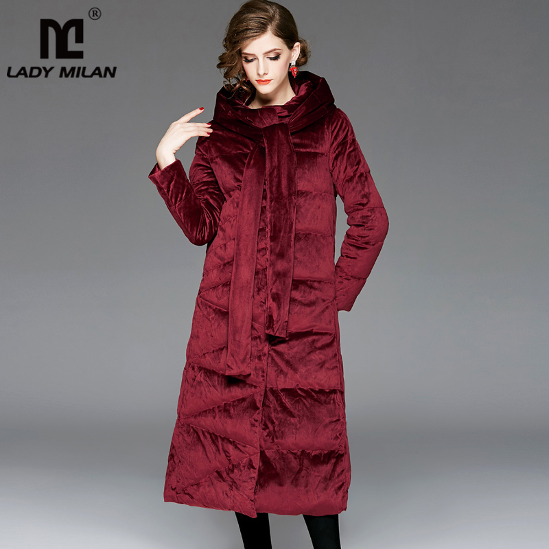 Women's Hooded Collar Long Sleeves White Duck   Down   Thick High Street Fashion Long Velour   Down     Coats   Outerwear Parkas