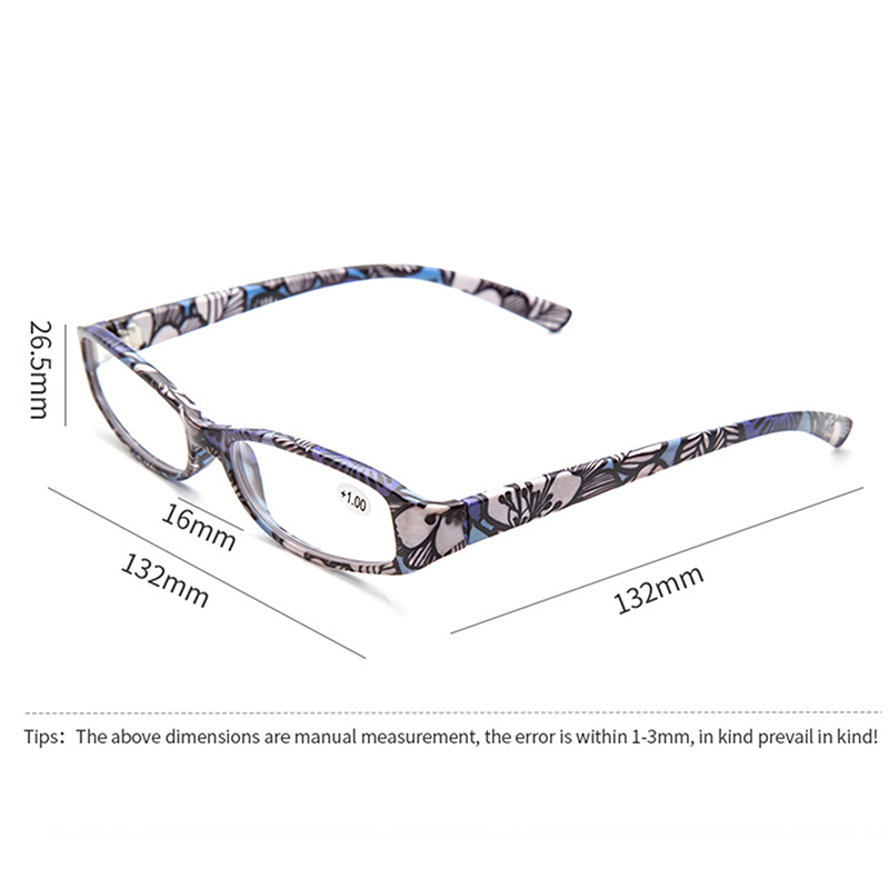 CANCHAGE Printed Reading Glasses Rectangular Presbyopic Reading Glasses Women Men Matching Pouch +1.0 1.5 2.0 2.5 3.0 3.5 4.0