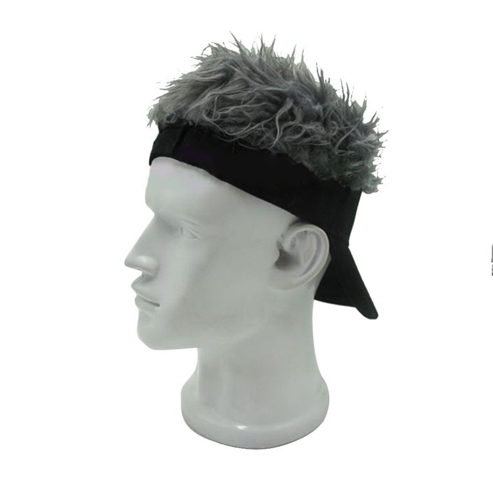 Mens Creative Novelty Sun Visor Cap/Hat  With Fake Hair