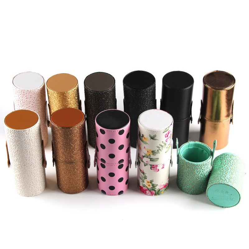 Empty Portable Makeup Brush Round Pen Holder Cosmetic Tool PU Leather Cup Container Solid Colors 6 Optional Case S9 maange dropship leather cosmetic case portable storage makeup bags organizer brush holder cup pu material anne