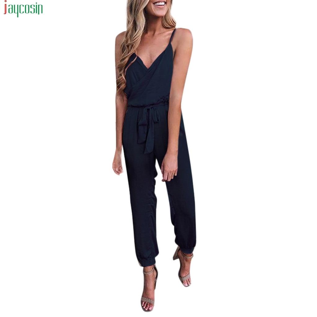 JAYCOSIN Fashion   Jumpsuits   Women Solid sexy V-Neck Strapless Bandage Ruffled Sleeveless Long   Jumpsuits   female Beach Trousers new