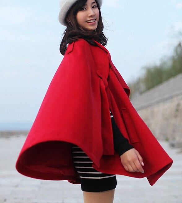 Осень Зима Большой размер женское кашемировое пальто стоячий воротник шерстяное пальто-накидка толстое шерстяное пальто - Цвет: Красный