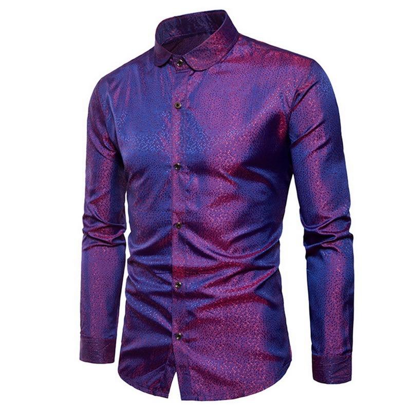 Summer Brand Fashion Dot Pattern Shirts Men Long Sleeve Turn-dwon Collar Slimming Shirts Male Shirts Clothes Camisa Masculina