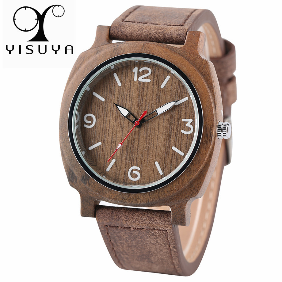 YISUYA Bamboo Wood Watch Men Sport Casual Genuine Leather Strap Fashion Quartz Creative Watches Wooden Handmade Men's Clock Gift simple handmade wooden nature wood bamboo wrist watch men women silicone band rubber strap vertical stripes quartz casual gift page 2