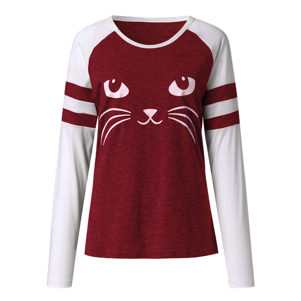 t shirt women Spring Cute Cat Print Tops long sleeve shirt women tshirts Top harajuku modis chemise femme streetwea