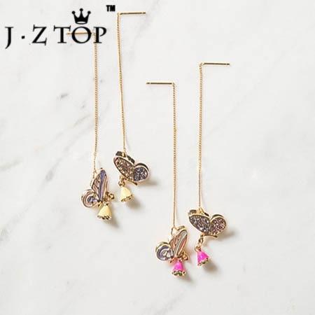 Jztop Crystal Butterfly Flower Ear Line Color Stereoscopic