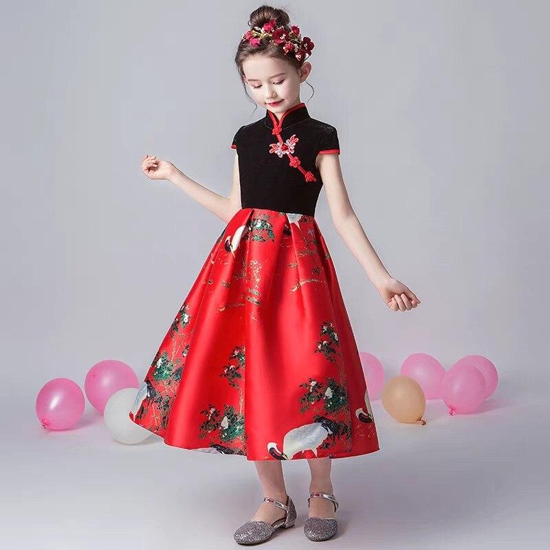 2019 de lujo primavera nuevo estilo chino tradicional de las muchachas de los niños de la noche de la fiesta de cumpleaños modelo de vestido de los niños adolescentes vestido de baile de graduación - 3
