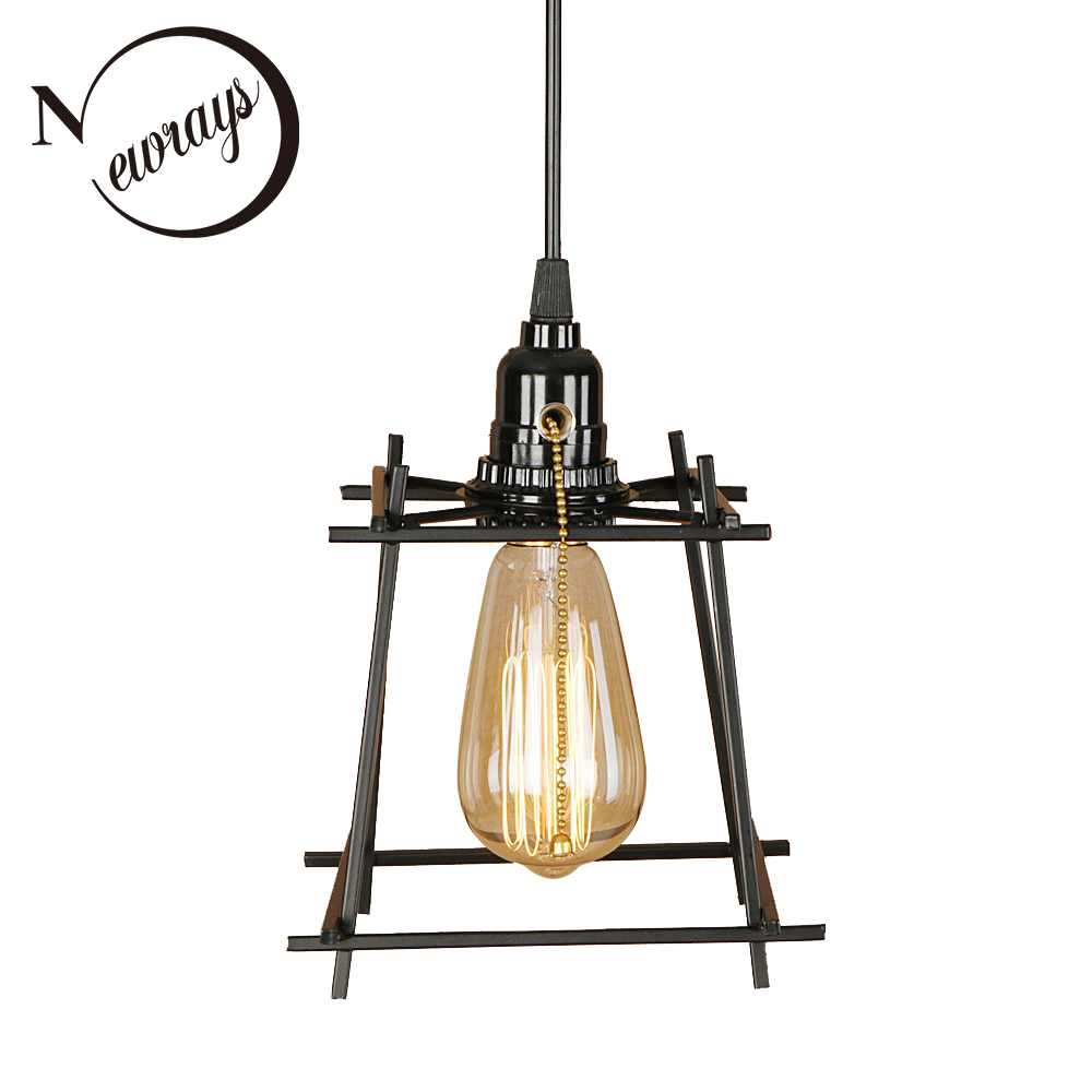 Retro simple iron black pendant light LED E27 industrial home deco hanging lamp with switch for living room bedroom aisle officeRetro simple iron black pendant light LED E27 industrial home deco hanging lamp with switch for living room bedroom aisle office