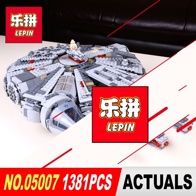 New LEPIN 05007 Star 1381pcs Wars Building Blocks  Force Millennium Awakens Falcon Model Kits Rey BB-8 10467 children toys Gifts гроза о new millennium english 11 кл раб тетрадь
