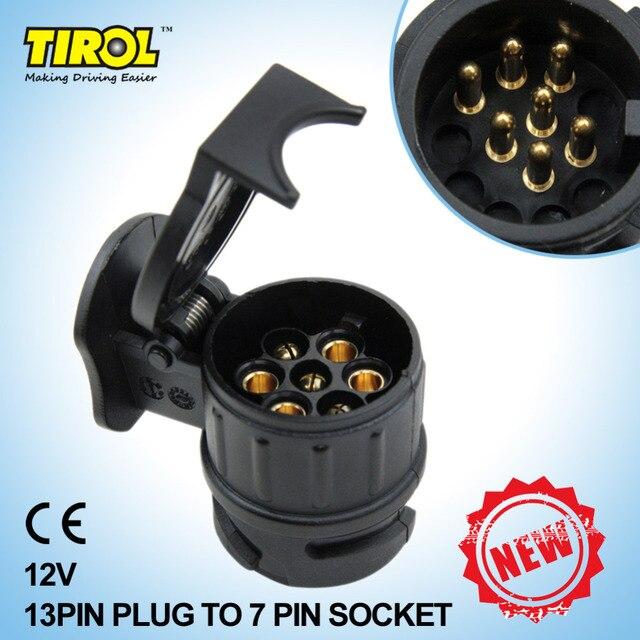 TIRO 13 Bis 7 Pin Anhänger Adapter Schwarz matt materialien anhänger Verdrahtung Stecker 12 V Anhängerkupplung anhänge Plug N T22775a Freies ...