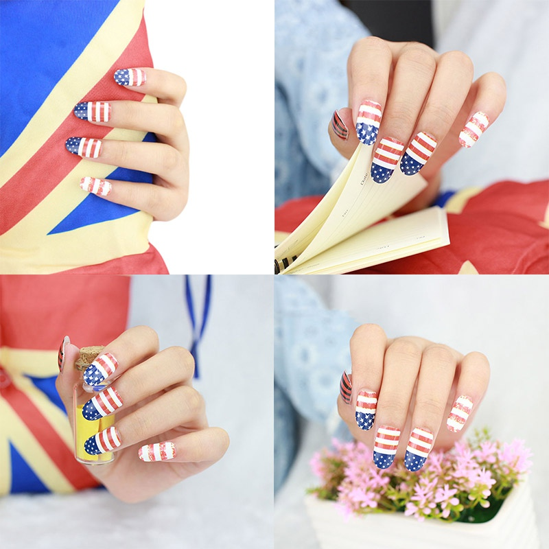 Fashion Diy Nail Art Stickers Fantacy Impressionisme Usa Vlag Snelle