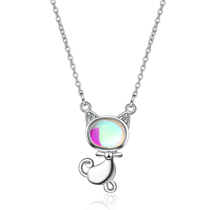 TJP New Arrival Female Silver 925 Clavicle Necklace For Women Jewelry Top Quality Moon Stone Cat Pendant Girls Bijou
